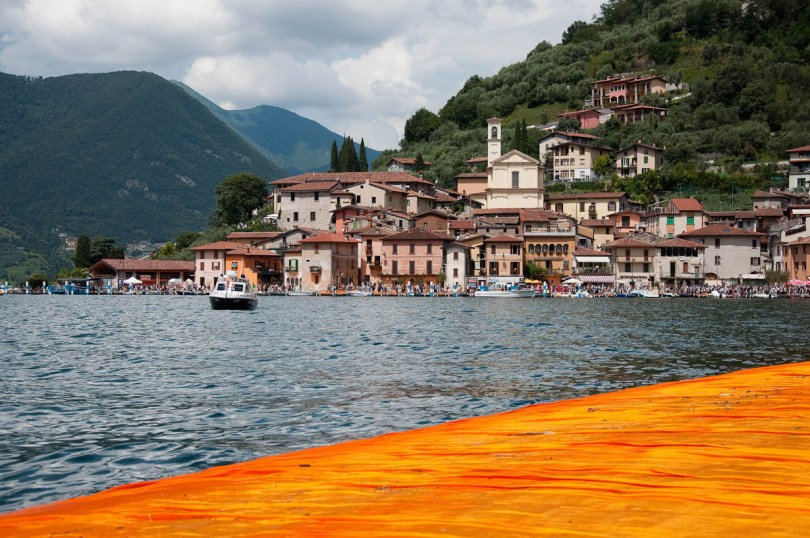 Christo's The Floating Piers, Monte Isola seen from the orange walkway, Lake Iseo, Italy - www.rossiwrites.com