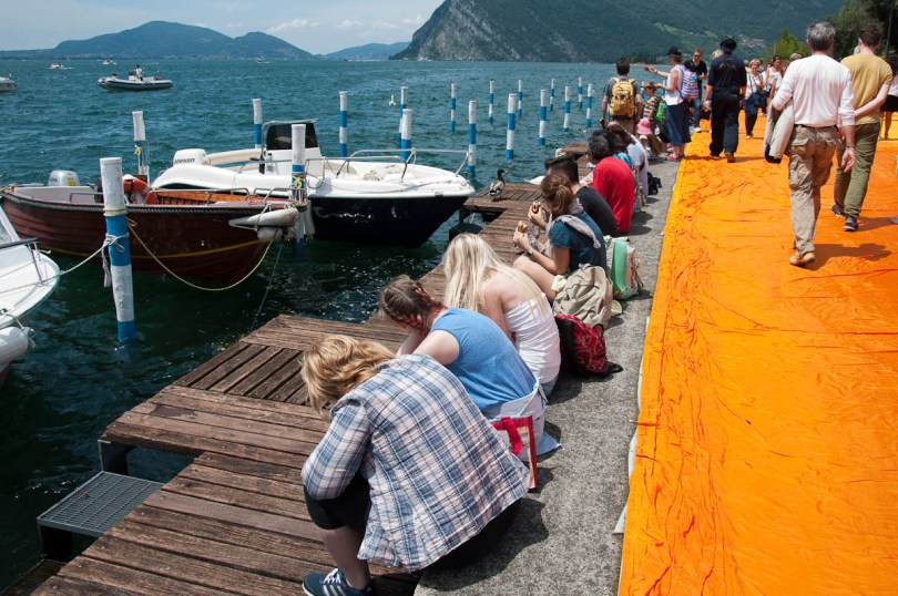 Christo's The Floating Piers, Taking a break, Monte Isola, Lake Iseo, Italy - www.rossiwrites.com