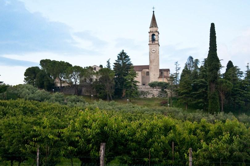The local church with cherry trees at the front, Festa dea Siaresa, Castegnero, Veneto, Italy - www.rossiwrites.com