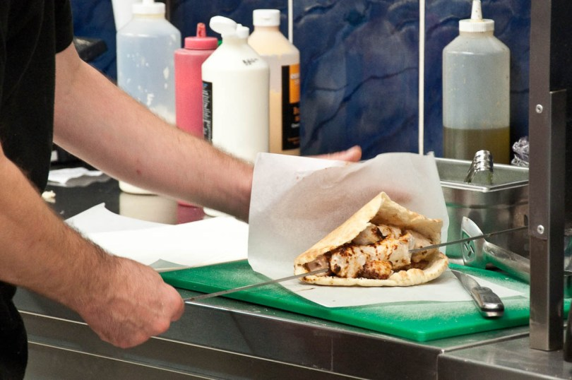 Preparing a souvlaki, The Master Fryer Fish and Chips Shop, St. Albans, England - www.rossiwrites.com