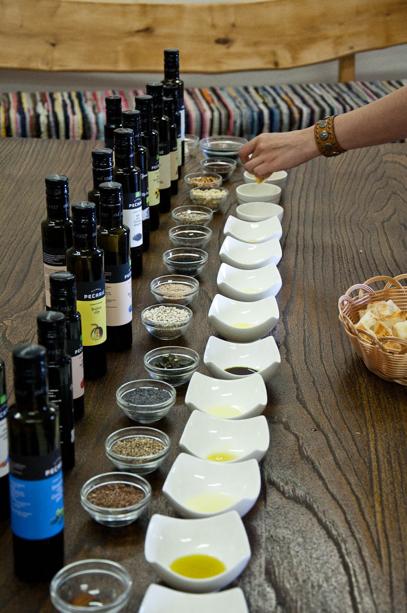 Tasting of cold-pressed oils at Pecaric farm, Big Berry Glampsite, Bela Krajina, Slovenia - www.rossiwrites.com