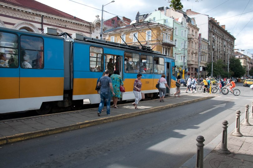 Getting on and off a tramway, Sofia, Bulgaria - www.rossiwrites.com