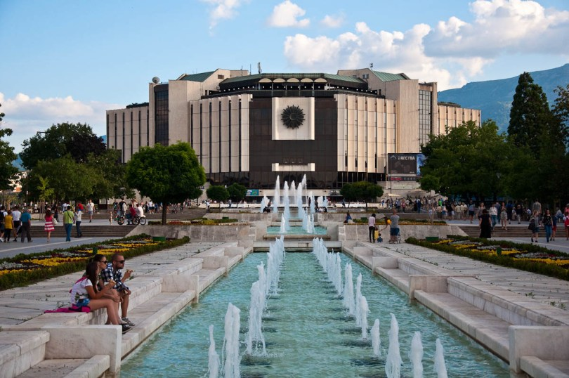 National Palace of Culture (NDK) with the fountains, Sofia, Bulgaria - www.rossiwrites.com