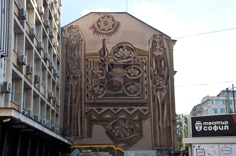Old-fashioned mural in the centre of the capital, Sofia, Bulgaria - www.rossiwrites.com