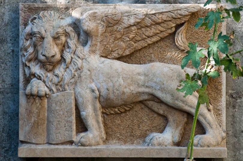 The lion of Veneto, As seen on the wall of the front yard of a house in Bolca, Province of Verona, Italy - www.rossiwrites.com
