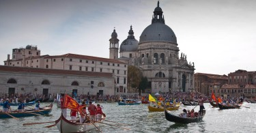 Boats in front of Santa Maria della Salute, Historical Regatta, Venice, Italy - www.rossiwrites.com