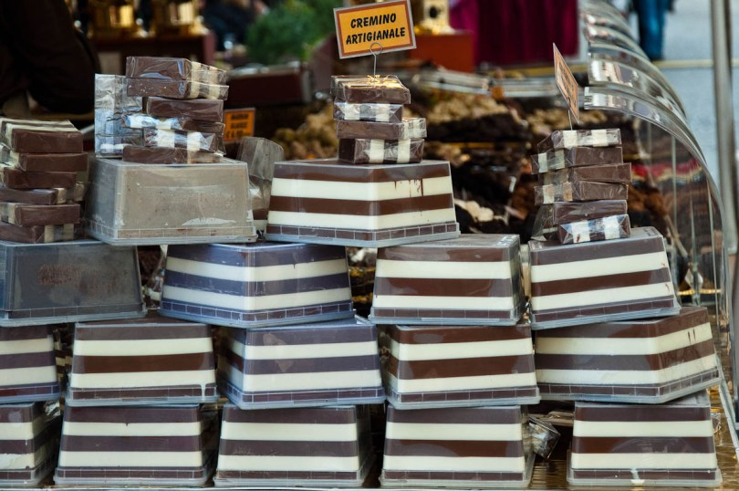 Slabs of cremino at a local chocolate festival - Castelfranco Veneto, Italy - www.rossiwrites.com