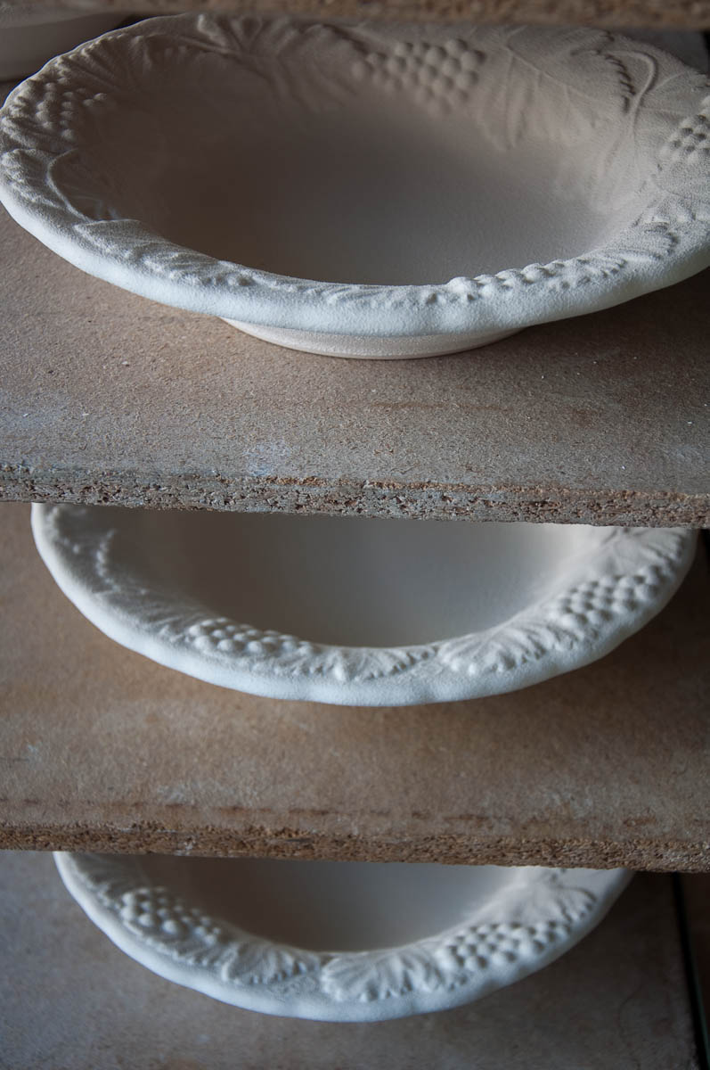 Ceramic plates ready for firing - Nove, Veneto, Italy - www.rossiwrites.com