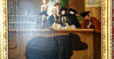 A Venetian lady wearing a Moretta - Clara the Rhinoceros - a painting by Pietro Longhi - Ca Rezzonico, Venice, Italy - www.rossiwrites.com