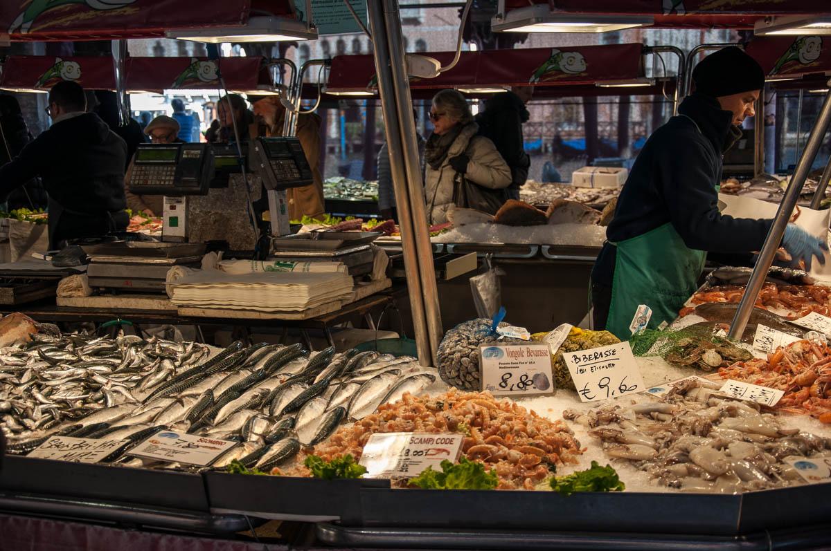 A Fishmongers Stall Rialto Fish Market Venice Italy Rossiwrites