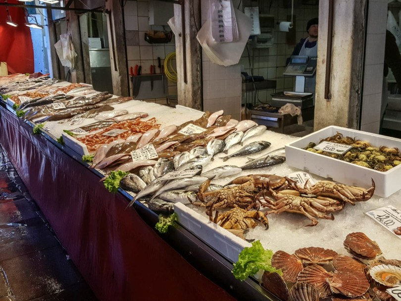 Fishmonger's stall - Rialto Fish Market, Venice, Italy - www.rossiwrites.com