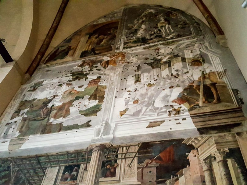 Reconstructed panels of the frescoes Stories of St. Christopher - Church of the Eremitani, Padua, Italy - rossiwrites.com