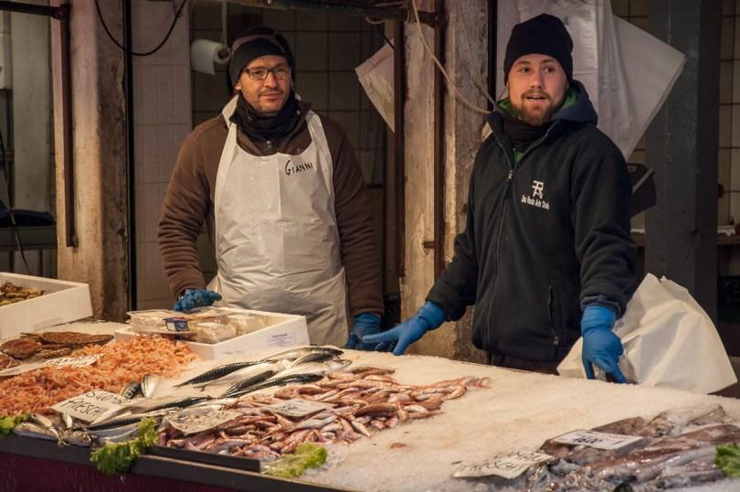 Selling fish - Rialto Fish Market, Venice, Italy - www.rossiwrites.com