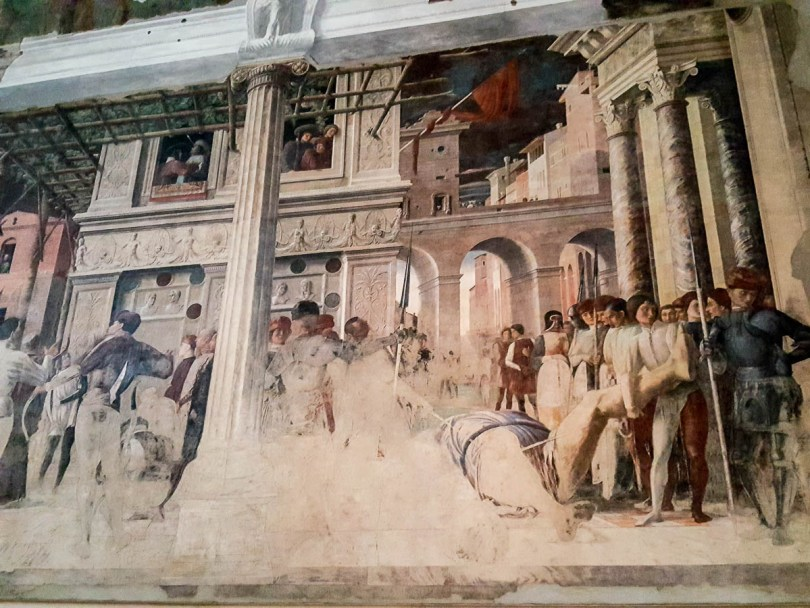 The bottom panel of the Mantegna's frescoes Stories of St. Christopher - Church of the Eremitani, Padua, Italy - www.rossiwrites.com