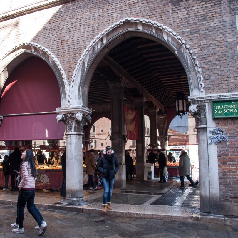 The market bustles with tourists and locals alike - Rialto Fish Market, Venice, Italy - www.rossiwrites.com