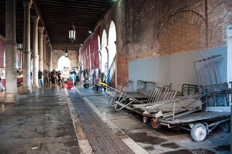 The trolleys used to transport the fish from the boats to the market stalls - Rialto Fish Market, Venice, Italy - www.rossiwrites.com