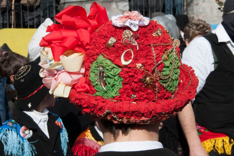 A traditional hat with ribbons - Bagolino, Lombardy, Italy - www.rossiwrites.com