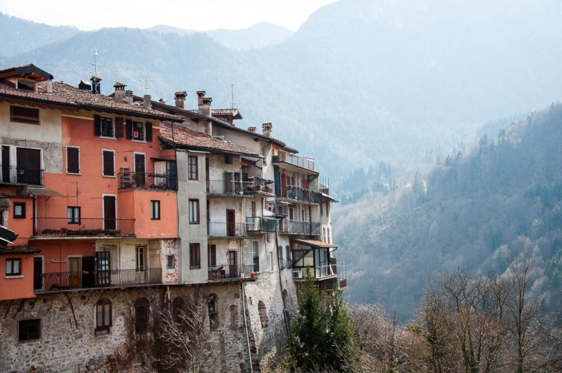 Colourful houses and hazy hills - Bagolino, Lombardy, Italy - www.rossiwrites.com