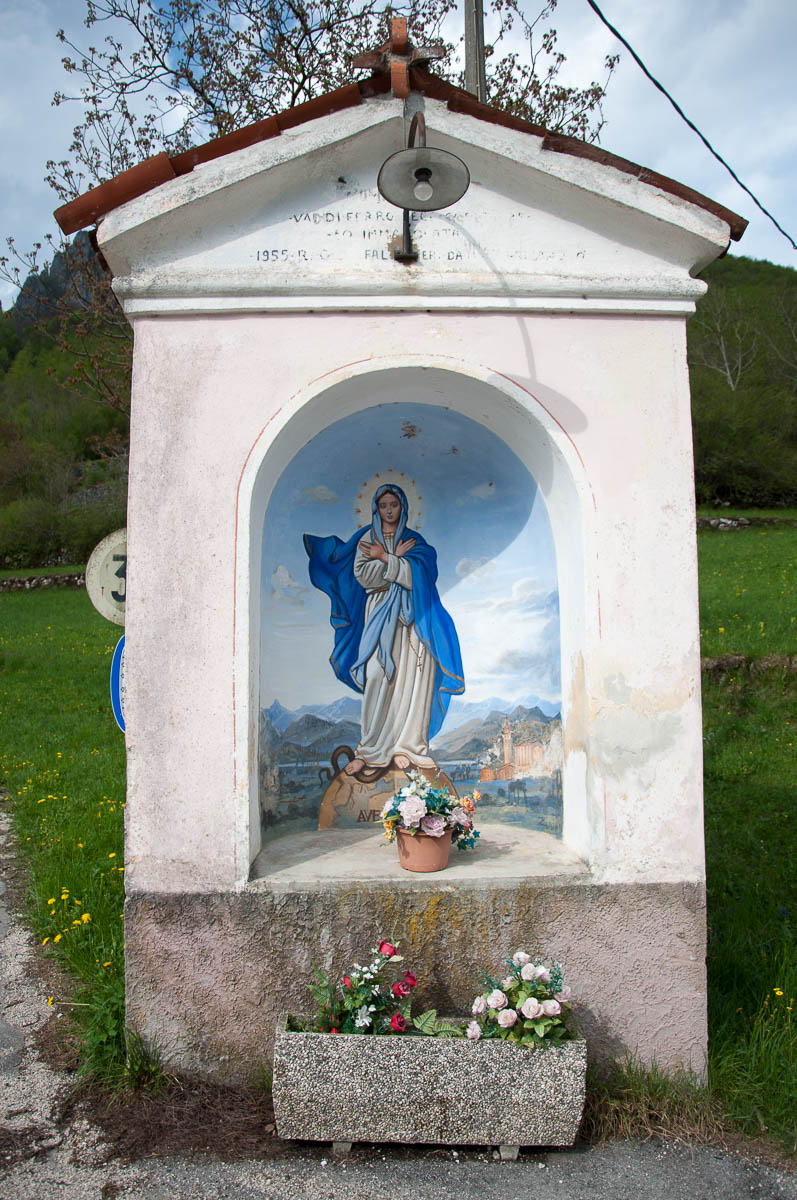 A sanctuary dedicated to the Virgin Mary on the side of the road - Laghi, Veneto, Italy - www.rossiwrites.com