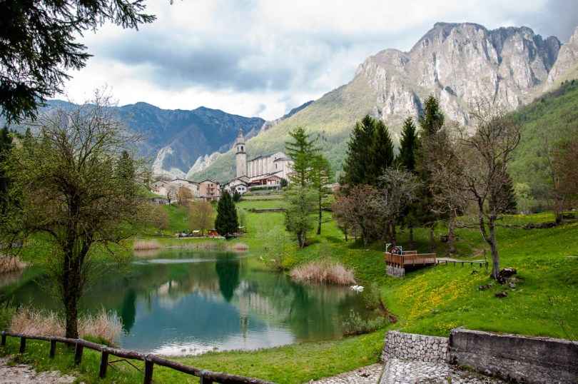 The village of Laghi seen from the lake - Laghi, Veneto, Italy - www.rossiwrites.com