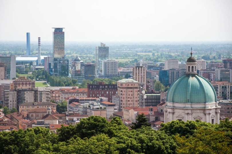 A view of the city with Duomo Nuovo seen from Brescia Castle - Brescia, Lombardy, Italy - www.rossiwrites.com