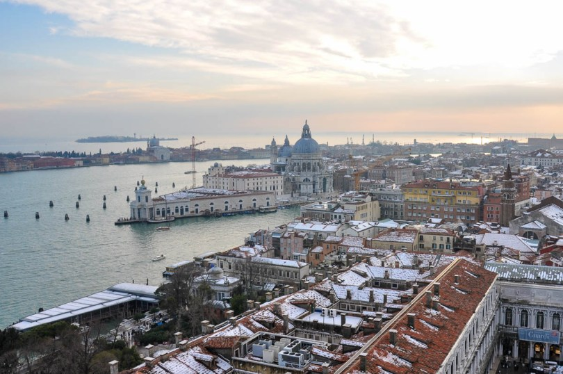 Punta della Dogana and St. Mark's Square covered in snow - Venice, Veneto, Italy - www.rossiwrites.com