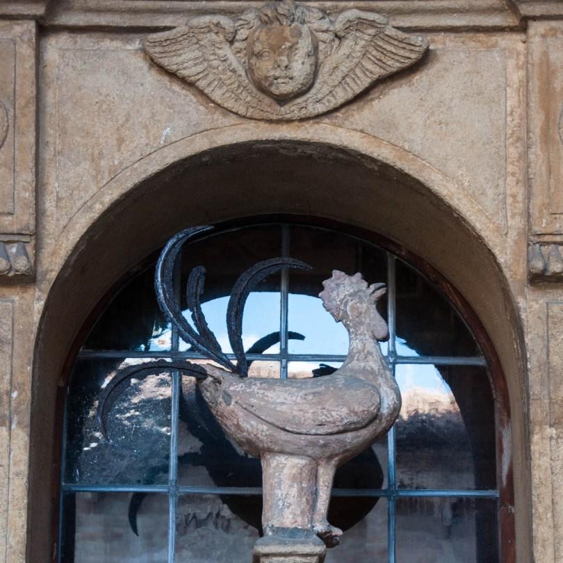 The 14th century rooster of St. Peter - Gallo di San Pietro - Basilica of Santo Stefano - Bologna, Emilia-Romagna, Italy - www.rossiwrites.com