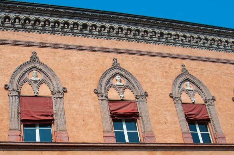 The facade of Corte Isolani - Palazzo d'Accursio, Bologna, Emilia-Romagna, Italy - www.rossiwrites.com