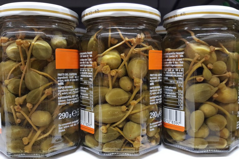 Jars with pickled caperberries - Vicenza, Veneto, Italy - www.rossiwrites.com