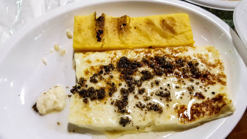 Pan-fried tosella cheese with slivers of truffle and polenta - Lumignano Truffle Festival - Veneto, Italy - www.rossiwrites.com