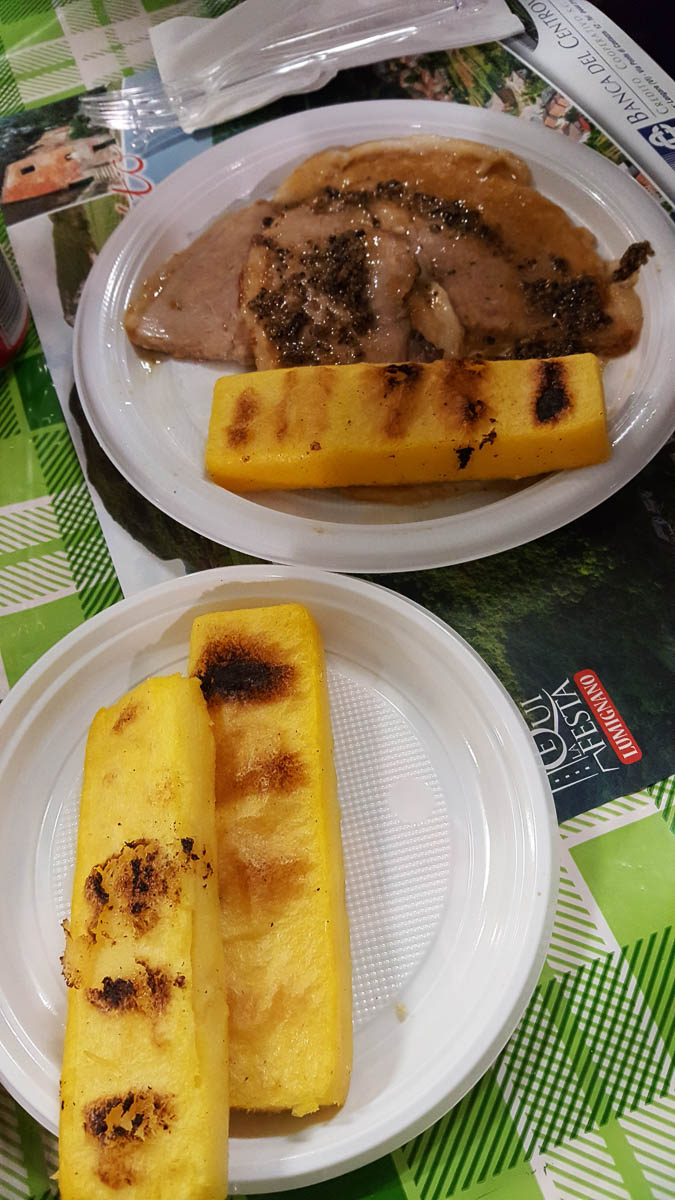 Pork slices with slivers of truffle and polenta - Lumignano Truffle Festival - Veneto, Italy - www.rossiwrites.com