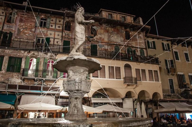 Piazza delle Erbe in Verona at night - Veneto, Italy - www.rossiwrites.com
