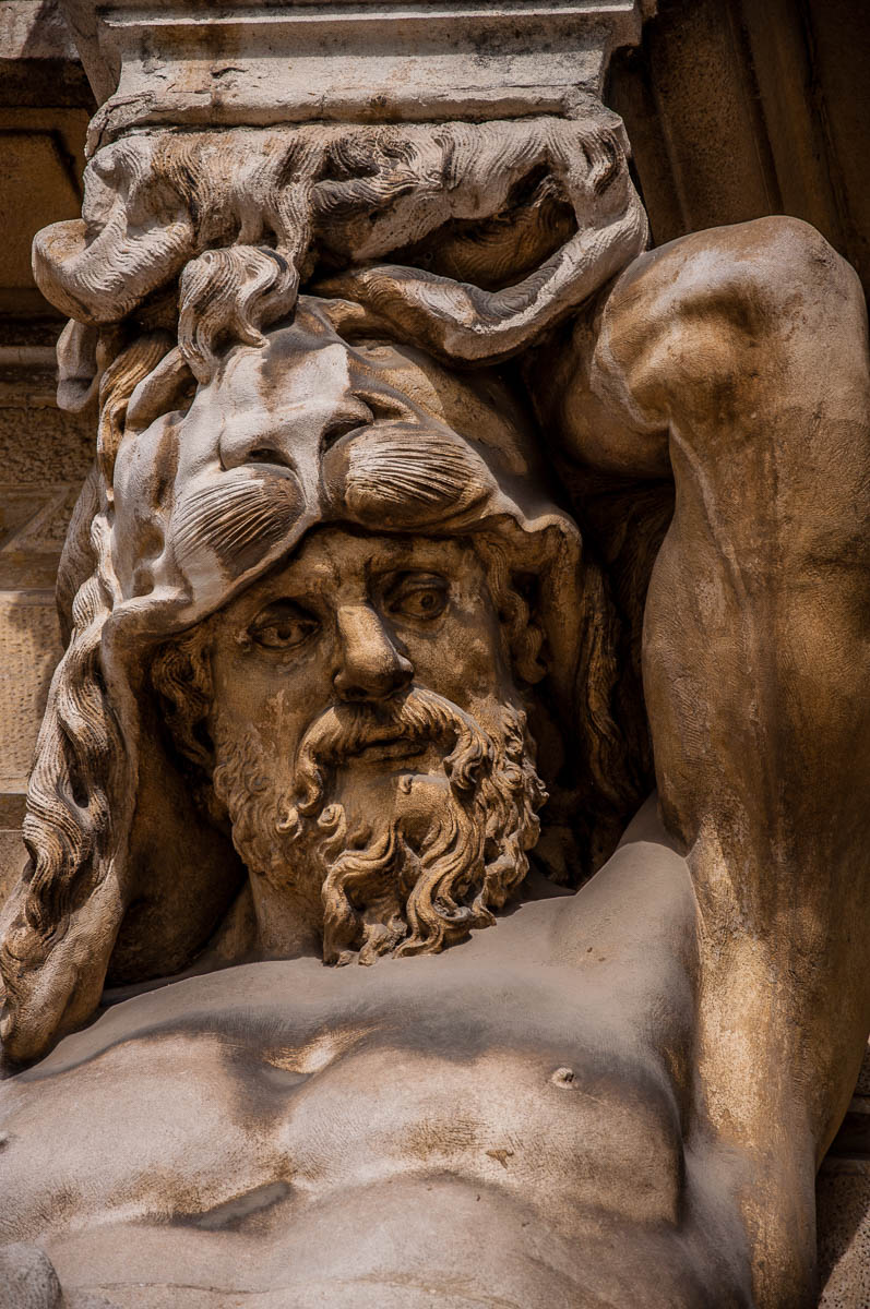 Close-up of a male caryatid on the facade - Villa Pisani, Stra, Veneto, Italy - www.rossiwrites.com