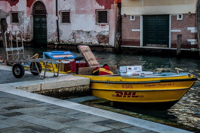 DHL boat - Venice, Veneto, Italy - www.rossiwrites.com