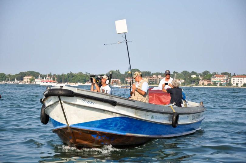 TV crew boat - Venice, Italy - www.rossiwrites.com