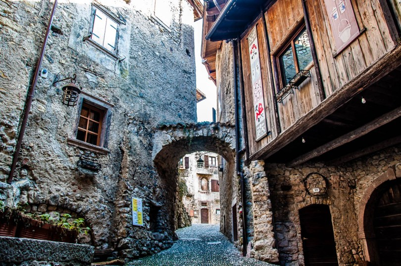 The cobbled streets of the medieval village Canale di Tenno - Trentino, Italy - www.rossiwrites.com
