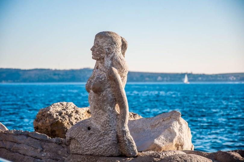 A mermaid on Piran's waterfront - Piran, Slovenia - www.rossiwrites.com