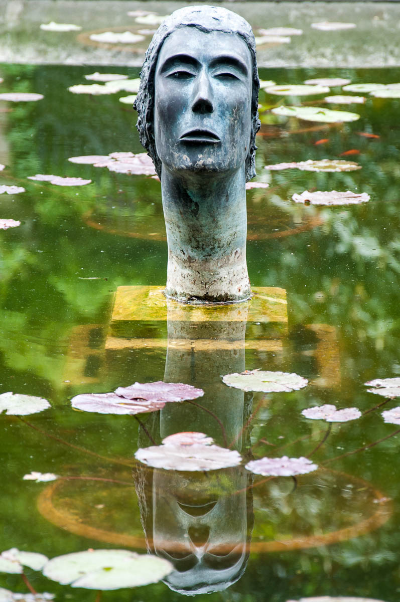 The sculptural head in the pond - Castello di San Pelagio, Province of Padua, Veneto, Italy - www.rossiwrites.com