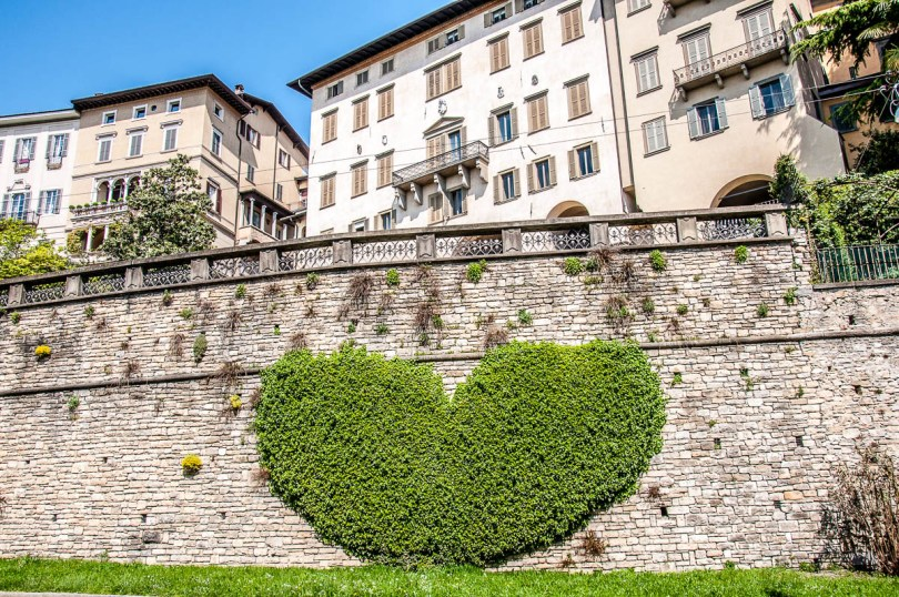 View of Bergamo's Upper City with heart-shaped ivy on the defensive walls - Bergamo, Lombardy, Italy - www.rossiwrites.com