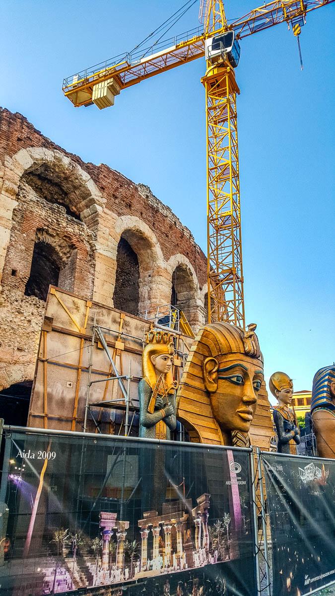 Arena di Verona surrounded by Aida's stage set and a crane - Verona Opera Festival - Veneto, Italy - www.rossiwrites.com