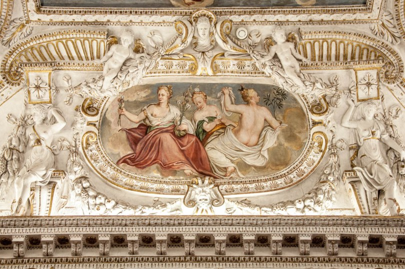 A detail of the ceiling in a room of Palladio's Museum - Vicenza, Italy - www.rossiwrites.com