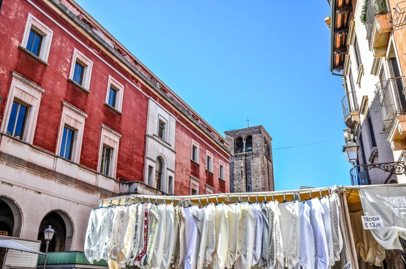 A market stall selling curtains - Vicenza, Italy - www.rossiwrites.com