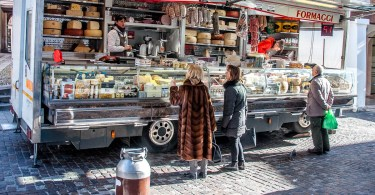 Market van selling cheese and salami - Bassano del Grappa, Veneto, Italy - www.rossiwrites.com
