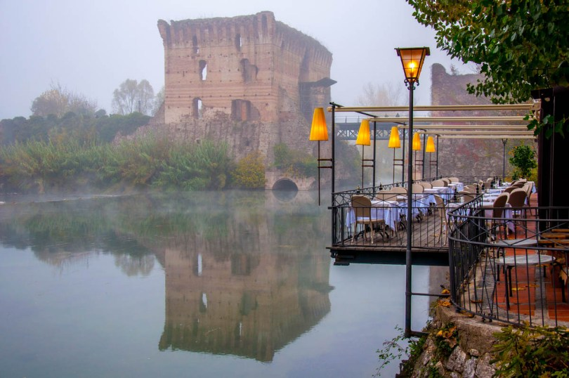 The Visconti Bridge in the fog - Borghetto sul Mincio, Italy - www.rossiwrites.com