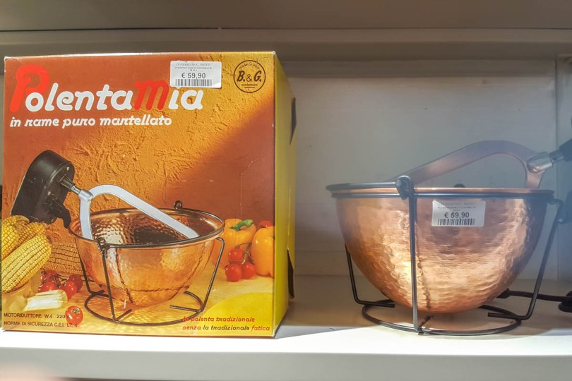 A modern copper pot to make polenta - www.rossiwrites.com