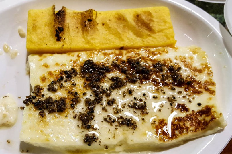 Tosella cheese with truffles and polenta - Lumignano, Veneto, Italy - www.rossiwrites.com