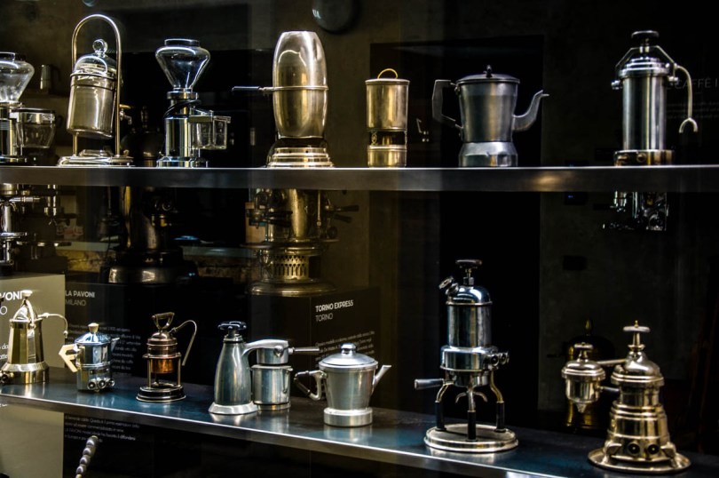 Historical coffee pots - Bontadi Coffee Museum - Rovereto, Italy - www.rossiwrites.com