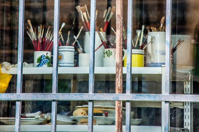 The brushes of a ceramic artist - Este, Veneto, Italy - www.rossiwrites.com