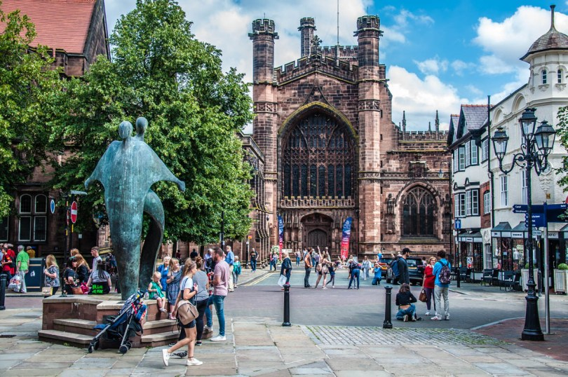 Chester Cathedral on a busy summer day - Chester, Cheshire, England - rossiwrites.com