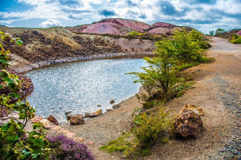 Colourful hills and a pond on Mynydd Parys The Copper Mountain - Amlwch, Isle of Anglesea - Wales, UK - rossiwrites.com